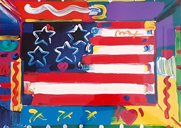 Flag  with Heart 2000 32x38