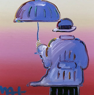 Umbrella Man Unique 2015 20x20 Original Painting - Peter Max