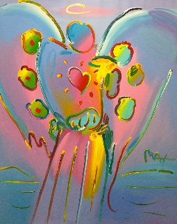 Angel With Heart 72x60 Original Painting - Peter Max