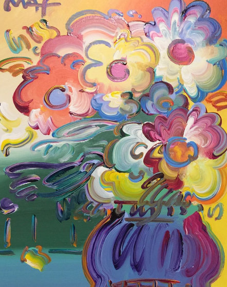 Vase Of Flowers 2015 26x30 By Peter Max