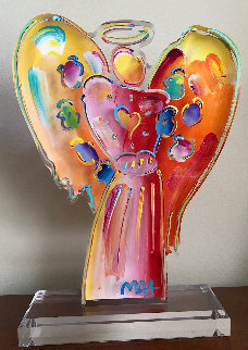 Angel with Heart Acrylic Scupture Unique 2015 25 in Sculpture - Peter Max