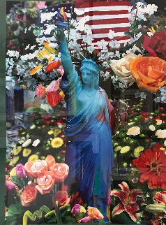 Land of the Free Home of the Brave II 2005  Unique 40x34 Works on Paper (not prints) by Peter Max