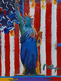 United We Stand Unique 2001 31x37 Works on Paper (not prints) by Peter Max