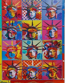 Liberty And Justice For All Unique 2001 31x37 Works on Paper (not prints) - Peter Max