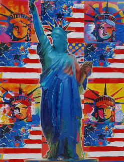 God Bless America - With Five Liberties Unique 2001 37x31 Works on Paper (not prints) - Peter Max