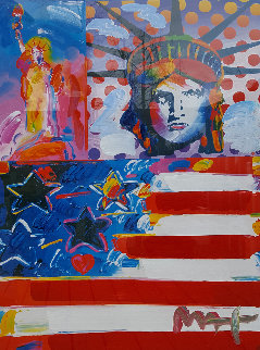God Bless America II Unique 2001 37x31 Works on Paper (not prints) - Peter Max