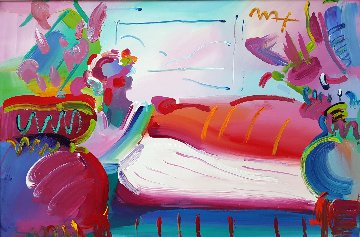 Lady in Repose Unique 1999 26x38 Original Painting - Peter Max
