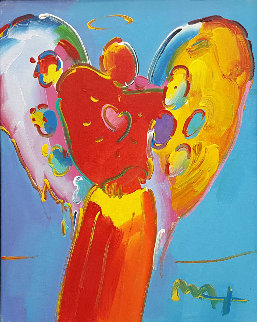 Angel With Heart Unique 21x17 Original Painting - Peter Max