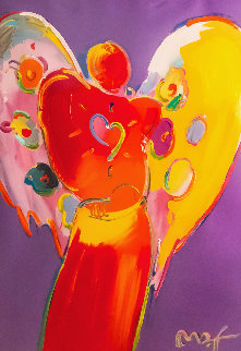 Red Angel With Heart III Unique 2007 48x36 Works on Paper (not prints) - Peter Max