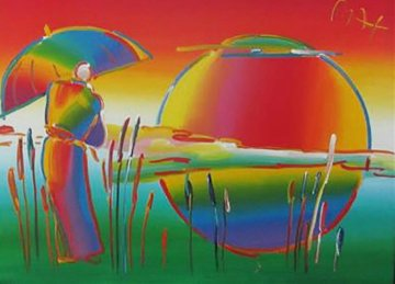 Umbrella Man 2010 45x57 Original Painting - Peter Max
