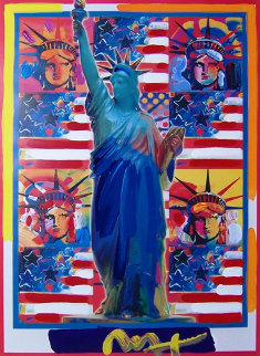 God Bless America with Five Liberties Unique 2001 Works on Paper (not prints) - Peter Max