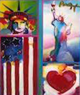 Patriotic Series: Two Liberties, Flag  And Heart  2006 19x15  Works on Paper (not prints) - Peter Max