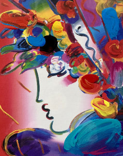 Blushing Beauty on Blends Unique 2006 23x21 Works on Paper (not prints) - Peter Max