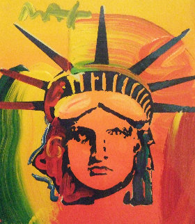 Liberty Head Unique 1999 20x19 Works on Paper (not prints) - Peter Max