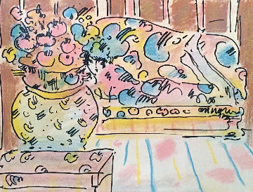 Lady on Couch With Vase 1979 Limited Edition Print - Peter Max
