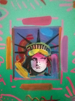 Liberty Head II Collage 1997 Unique 23x21 Works on Paper (not prints) - Peter Max