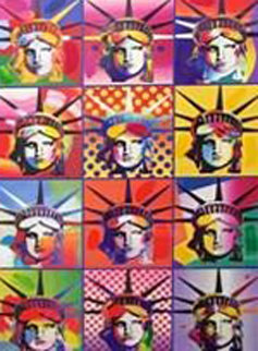 Liberty And Justice For All II Unique 2005 24x18 Works on Paper (not prints) - Peter Max