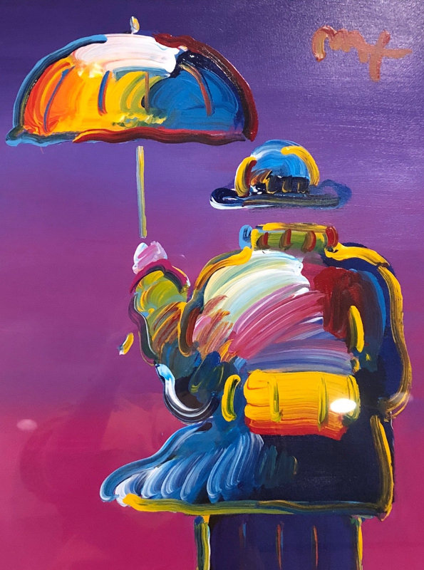 Umbrella Man on Purple  32x28