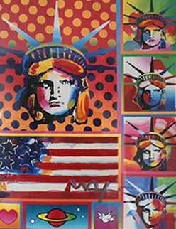 Five Liberties Unique 2006 28x23 Works on Paper (not prints) - Peter Max