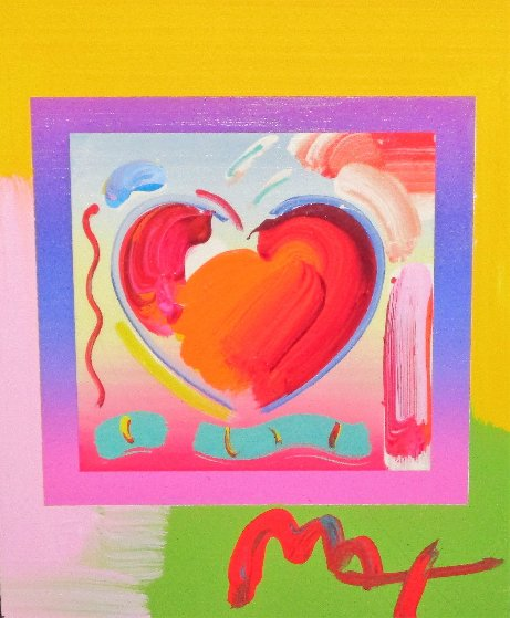 Heart on Blends Unique 2006 23x25 Works on Paper (not prints) by Peter Max