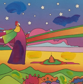 Two Sages With Stars on Blends Unique 2006 32x28 Works on Paper (not prints) - Peter Max