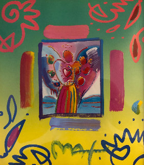 Angel With Heart Collage 1998 23x21 Works on Paper (not prints) - Peter Max