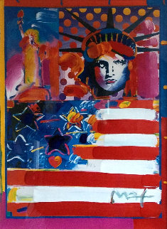 God Bless America II 2001 38x32 Works on Paper (not prints) - Peter Max
