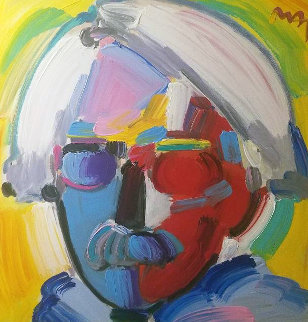 Andy With Mustache 2008 46x46 Original Painting - Peter Max