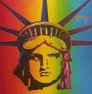 Liberty Head With Painted Edges 2008 46x46 Original Painting - Peter Max