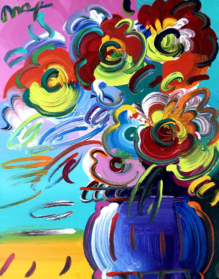 Vase of Flowers Series XVII Ver. II 2014 31x27 Original Painting by Peter Max