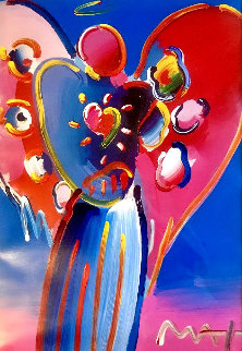 Angel With Heart 2005 34x30 Original Painting - Peter Max