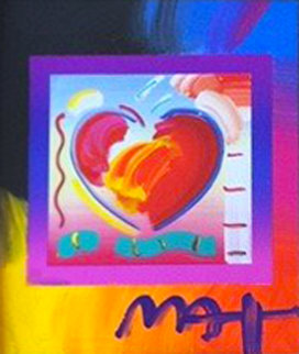 Heart on Blends Unique 2006 23x21 Original Painting - Peter Max