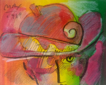 Man With Profile 1988 19x21 Original Painting - Peter Max