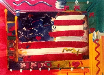 Flag With Hearts 1998 Embellished Works on Paper (not prints) - Peter Max