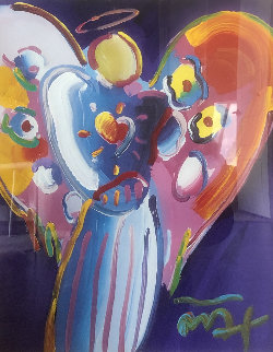 Angel With Heart 2001 38x32 Original Painting - Peter Max