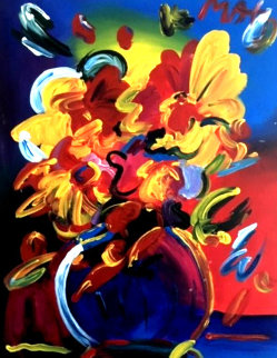 Untitled Still Life 28x22 Original Painting - Peter Max
