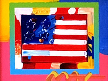 Flag With Heart 2006 24x26 Works on Paper (not prints) - Peter Max