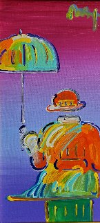 Umbrella Man on Blend Detail Ver. I, 2012 12x6 Original Painting - Peter Max