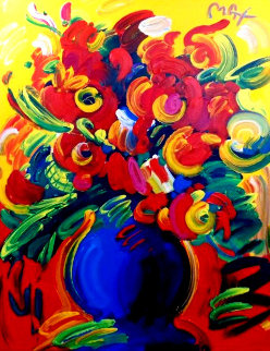 Vase of Flowers XIV 2001 67x55 Original Painting - Peter Max