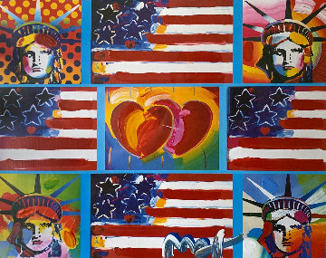 4 Flags, 2 Hearts, And 4 Liberties Unique 2006 28x32 Works on Paper (not prints) - Peter Max