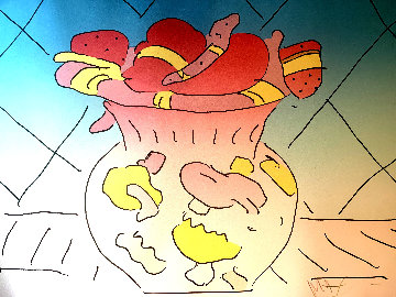 Hearts in a Vase 1982 Limited Edition Print - Peter Max