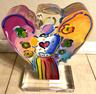 Angel With Heart Acrylic Sculpture 2017 14 in Sculpture - Peter Max