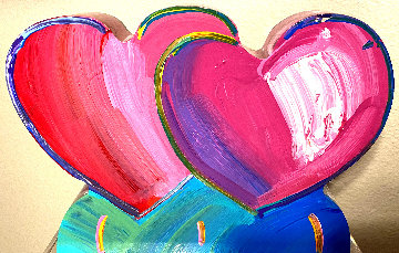 Two Hearts Acrylic Sculpture 2017 12 in Sculpture - Peter Max