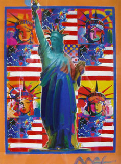 God Bless America with Five Liberties Unique Works on Paper (not prints) - Peter Max