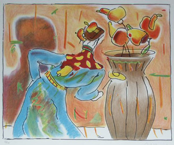 Robed Man And Vase 1980 Limited Edition Print - Peter Max