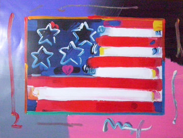 Flag With Heart 1999 Unique 18x24 Works on Paper (not prints) - Peter Max