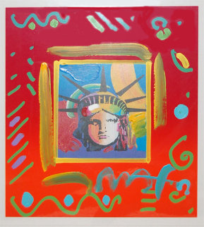 Liberty Head II Collage Unique Works on Paper (not prints) - Peter Max