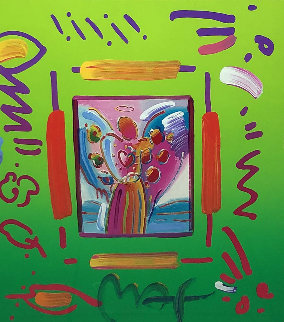 Angel With Heart Collage Ver II Unique 2007 27x25 Works on Paper (not prints) - Peter Max