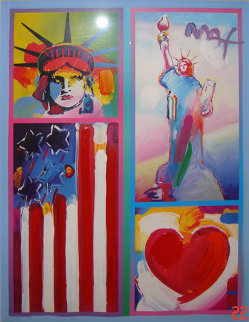 Patriot Series Two Liberties  Unique 19x15 Works on Paper (not prints) - Peter Max