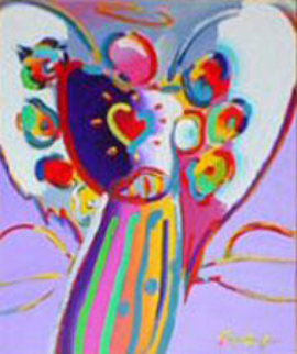 Angel with Heart on Blue 2000 Limited Edition Print - Peter Max